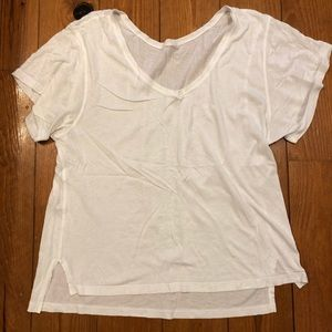 White soft loose lululemon v neck shirt